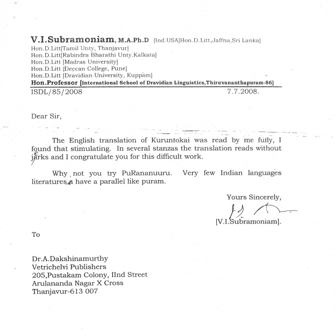 Dr.V.I.Subramoniam_Kuruntokai