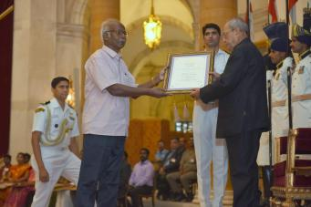 Dr. A. Dakshinamurthy received the Presidential Award for Lifetime Achievement in Classical Tamil - Tolkappiyar Award(2015) from the President of India, Mr. Pranab Mukherjee at Rashtrapati Bhavan, New Delhi on 9th of May 2017