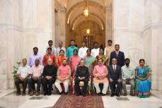 Dr. A. Dakshinamurthy received the Presidential Award for Lifetime Achievement in Classical Tamil - Tolkappiyar Award(2015) from the President of India, Mr. Pranab Mukherjee at Rashtrapati Bhavan, New Delhi on 9th of May 2017. Group Photo of all the awardees with the President of India and Ministers